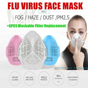 White REUSABLE FACE MASK DISPOSABLE DENTAL DUST HEPA FILTER M2 VS N95 MASK