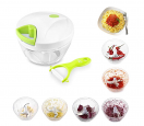 Mbuynow Kitchen Mini Chopper Food Pull Processor with Peeler- for Vegetable, Fruit, Garlic, Herb, Onion, Pull Slicer Cutter Blender Tool (3 Blades)
