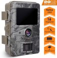 Mbuynow Trail Camera, IP66 Wildlife Trail Camera 16MP 1080P Wildlife Camera with 120° Wide Angle Hunting Camera 0.3s Trigger Speed Night Version Game Camera for Wildlife Monitoring & Home Security