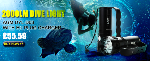 2000LM Dive Light AGM DYL-D03 GBP 65.59 Plus Free Shipping