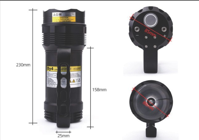 HID-diving-light-FH-08-dimensions