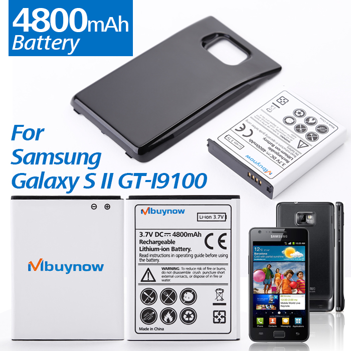 4800mAh Replacement battery+Black Back Cover For Samsung Galaxy S II GT-I9100