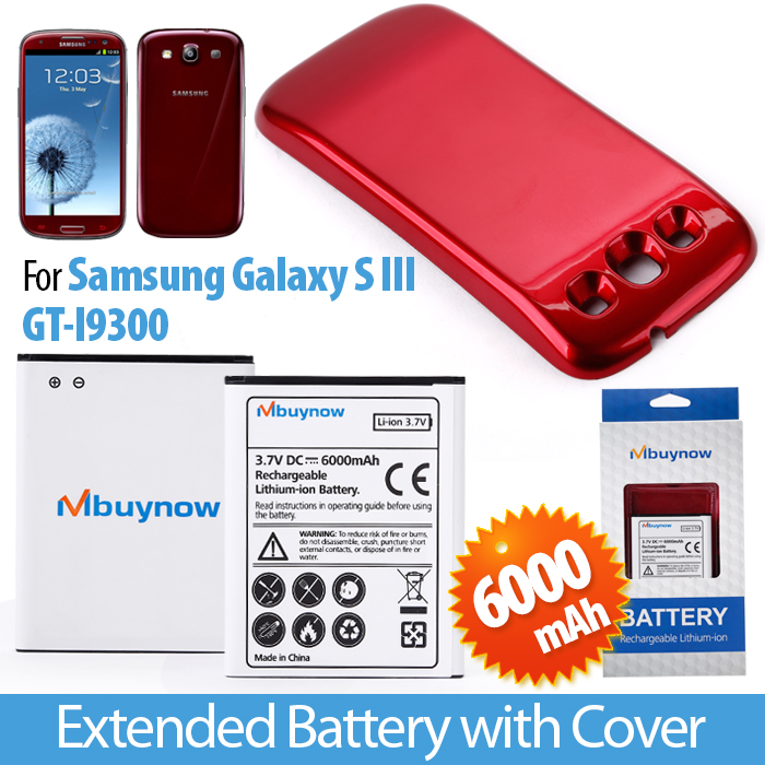 3.7VDC 6000mAh Samsung Galaxy SIII i9300 Battery with Red Back Cover