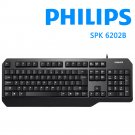 PHILIPS Wired USB Keyboard Ergonomic Spill-Resistant Keyboard Stylish Design with Wrist Rest Foldable Stand Compatible with Windows 7/8/10/Vista, Mac/Laptop/Desktop-Black (6202B)