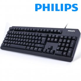 PHILIPS Wired USB Keyboard Ergonomic Spill-Resistant Computer Keyboard with Foldable Stand Compatible with Windows 7/8/10/Vista/Mac OS, PC/Mac/Laptop/Desktop-Black (6212B)