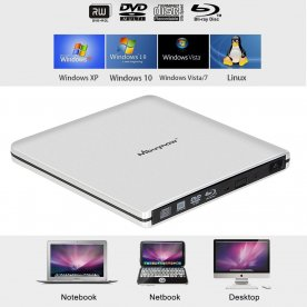 USB 3.0 External Blu-ray Combo DVD/CD Burner RW Drive for Laptop Windows Mac PC