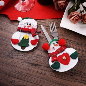 Christmas Kitchen Cutlery Silverware Holders Pockets Knifes Forks Bag, Xmas-Eve Dinner Snowman Costume Cover Decor