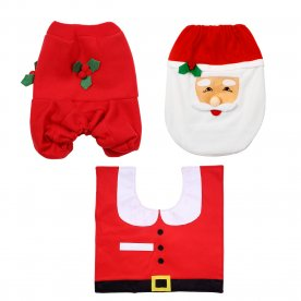 Mbuynow Happy Merry Christmas Santa Bathroom set - Toilet Seat Cover & Rug & and Tissue Box Cover (Red) Only Toilet Seat Cover