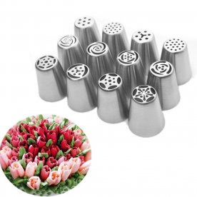 Mbuynow 12pcs Icing Piping Nozzle Tips Set Stainless Steel Russian Tulip Flower Petal Nozzles Cake Pastry Sugarcraft Decorating Tools, Piping Icing Nozzles Set for Birthday Wedding Party Cake Decoration