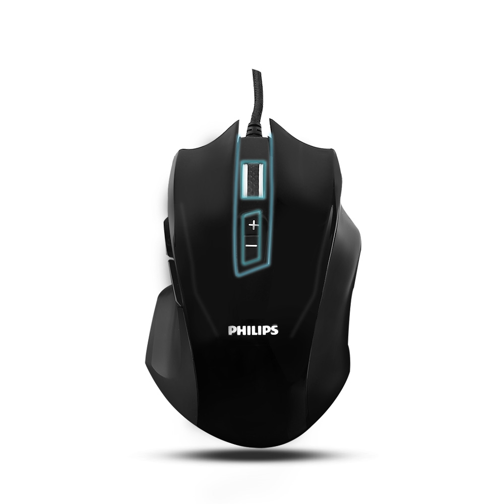 Gaming Mouse, Wired Mouse, Philips Optical Gaming Mice Laptop PC Computer Programmable Ergonomic Mouse with 9 Buttons, 4000 DPI for MS Windows 2000, ME, XP, VISTA and above, Linux, IOS, Black