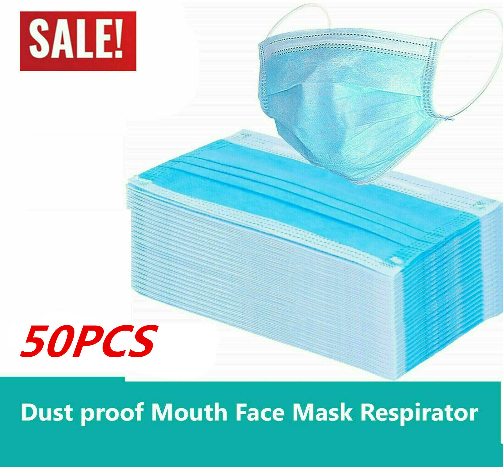 Mbuynow 50X Disposable Medical Surgical Face Masks 3 Ply Dust Smog Flu Mask